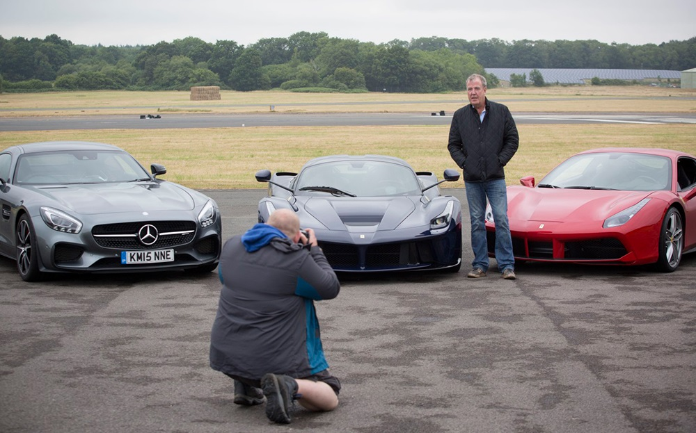 31 Jeremy Clarkson with Mercedes-AMG GT, Ferrari LaFerrari and Ferrari 488 GTB