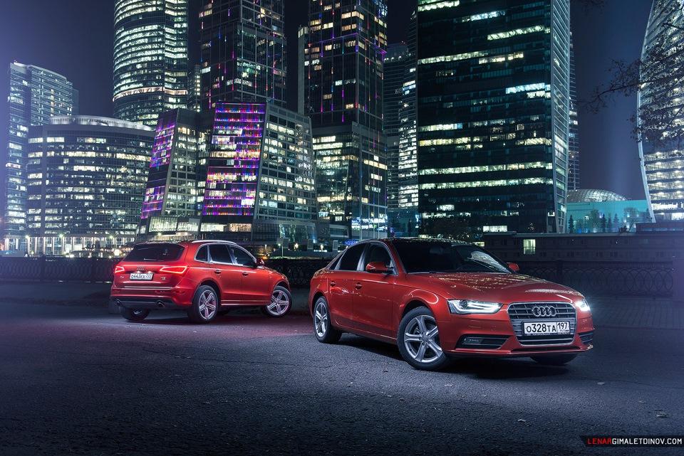 Audi A4 & Q5 на фоне Москва-Сити